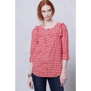 Anthropologie Holding Horses Ruffle Plaid Blouse